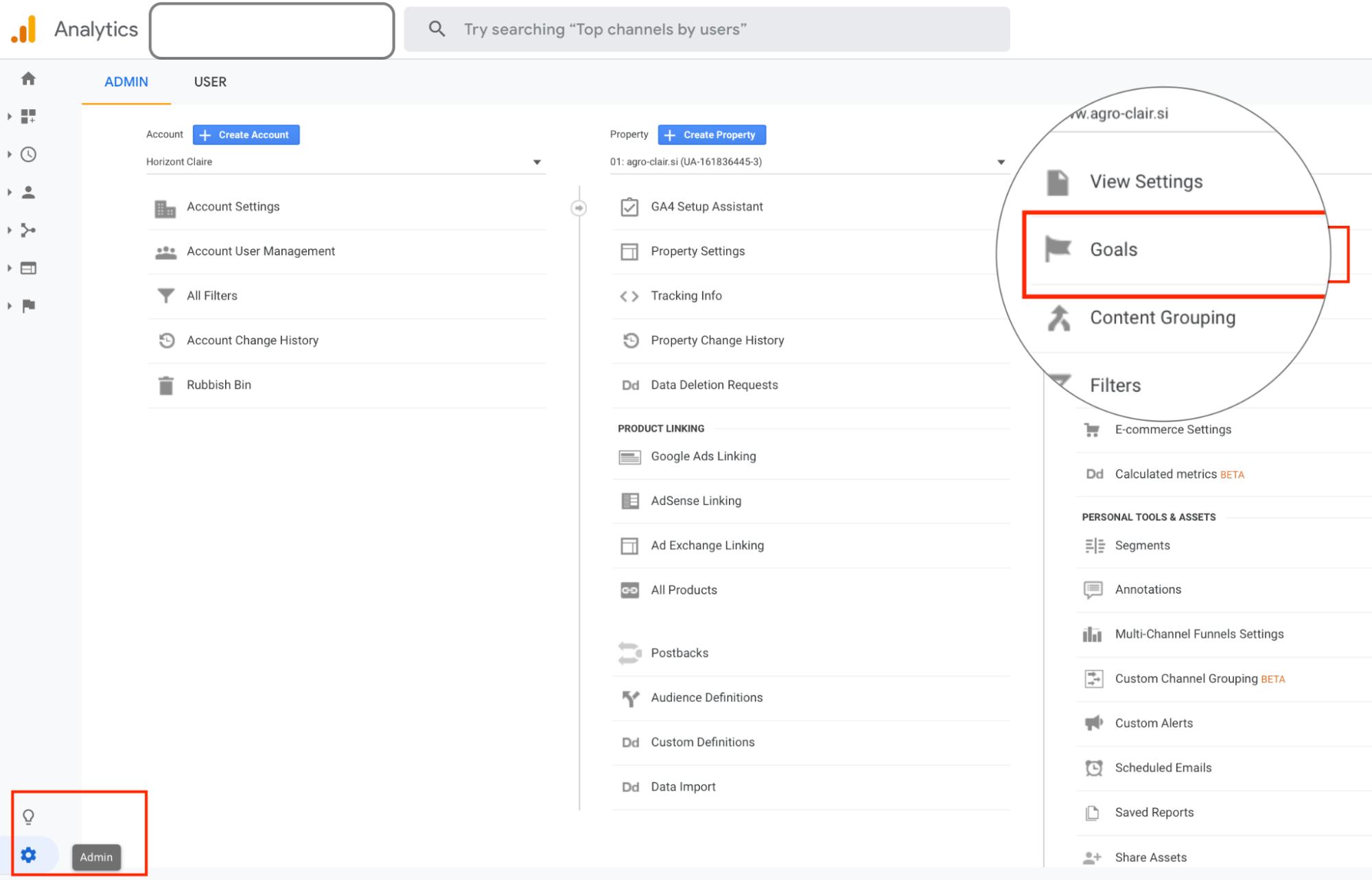 Nastavitev ciljev v Google analitiki za Google oglaševanje